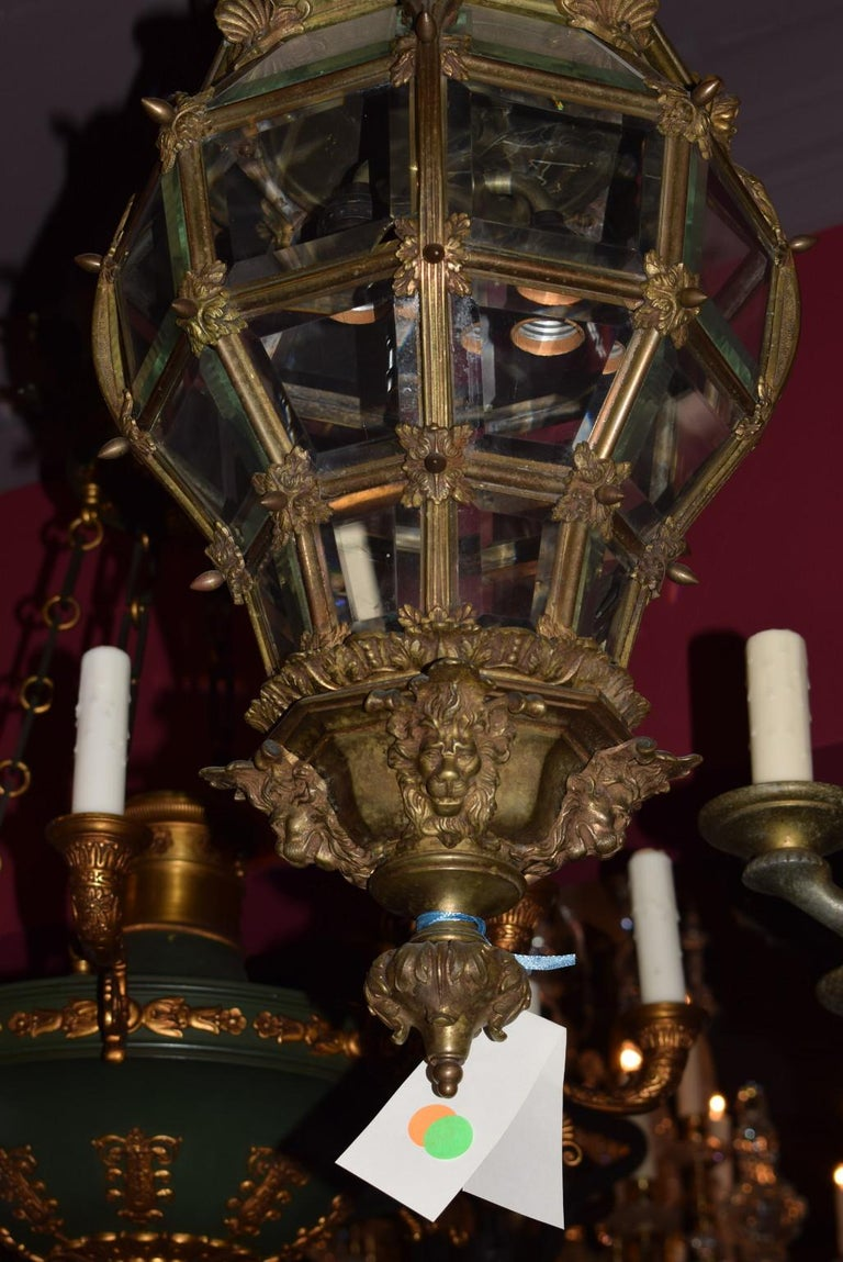 Bronze Lantern with Hand Beveled Crystal Panels For Sale 11