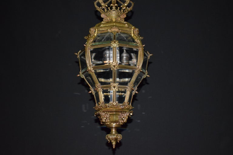 French Bronze Lantern with Hand Beveled Crystal Panels For Sale