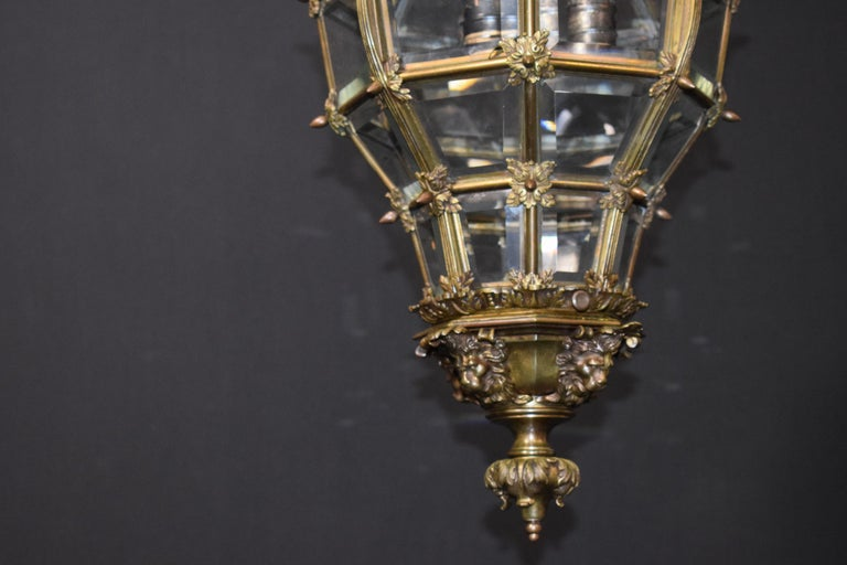 Hand-Crafted Bronze Lantern with Hand Beveled Crystal Panels For Sale