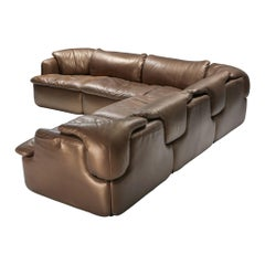 Bronze Leather Saporiti 'Confidential' Sectional Sofa
