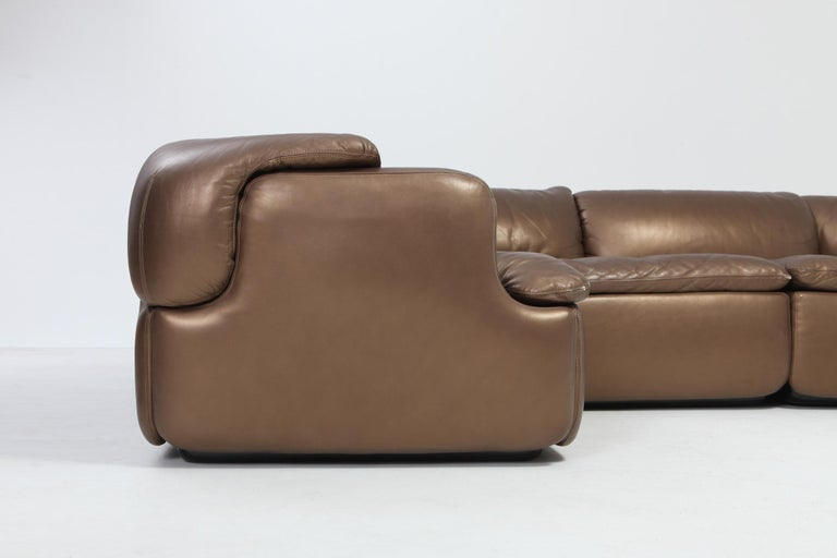 Bronze Leather Saporiti High-End Sectional Sofa