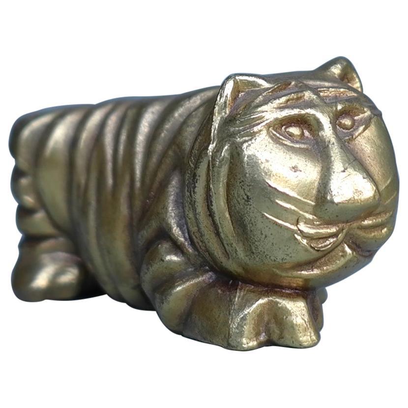 Bronze Lion Abstract Sculpture Figurine, Belgium, 1960s