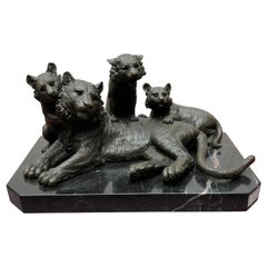 Bronze Lion Statue, Tiger and Cubs Animals Casting, 20th Century