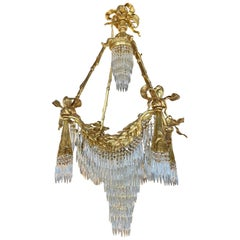 Bronze Louis XVI Style Chandelier Crystal Ribbon and Tassel Drapery Form