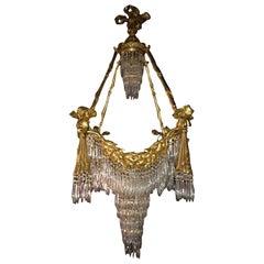 Bronze Louis XVI Style Crystal Ribbon and Tassel Drapery Chandelier