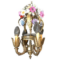 Bronze Louis XVI Style French Chandelier with Porcelain Flowers