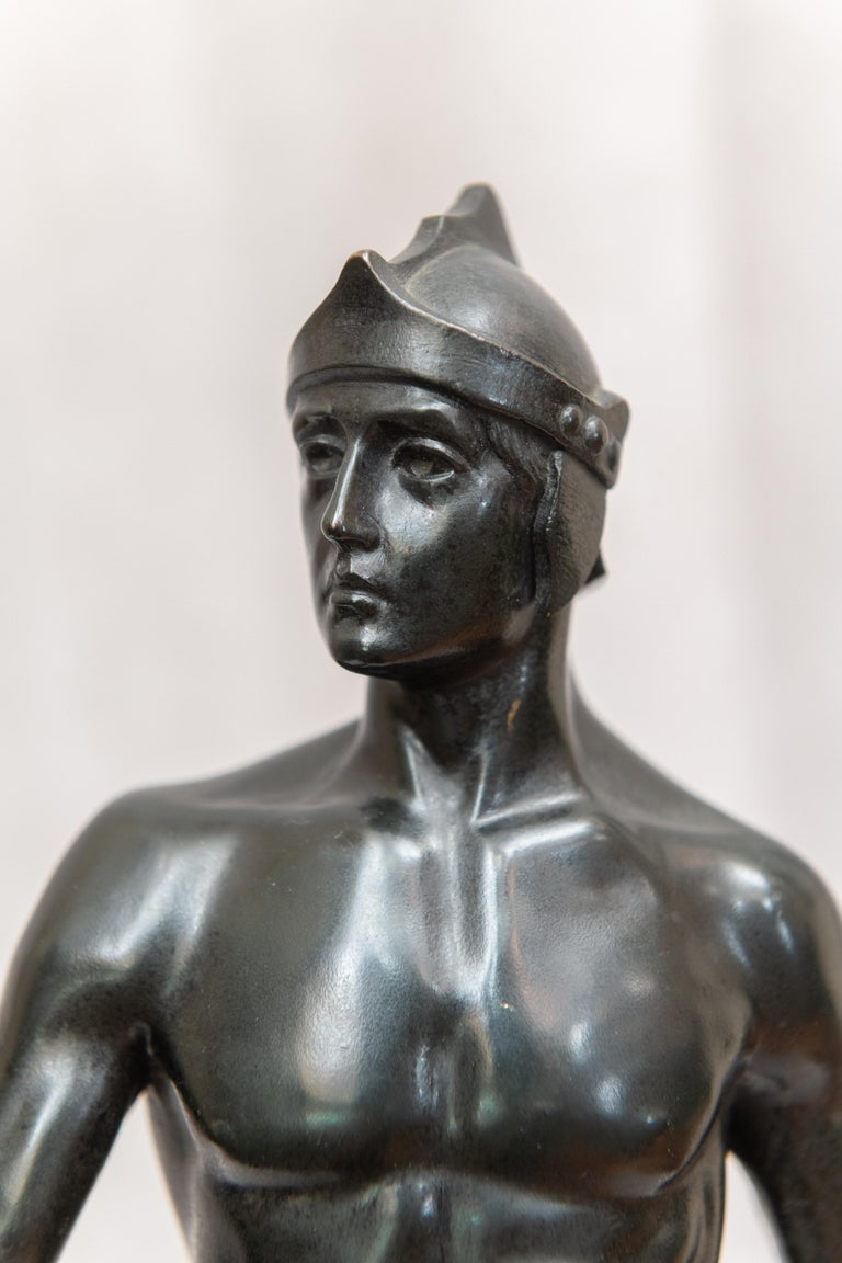 Bronze Male Figure of Handsome Young Warrior, Artist Signed, German, circa 1890 For Sale 4