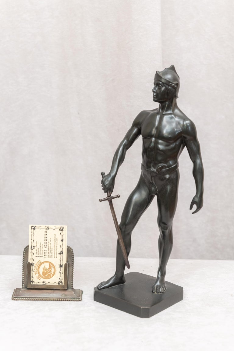 This very proud young warrior is signed my the noted German artist Schmidt-Felling 1835-1920. He is on Wikipedia if you wish to learn more about him. We have sold many fine bronze sculptures by this artist in our over 40 years of selling antique