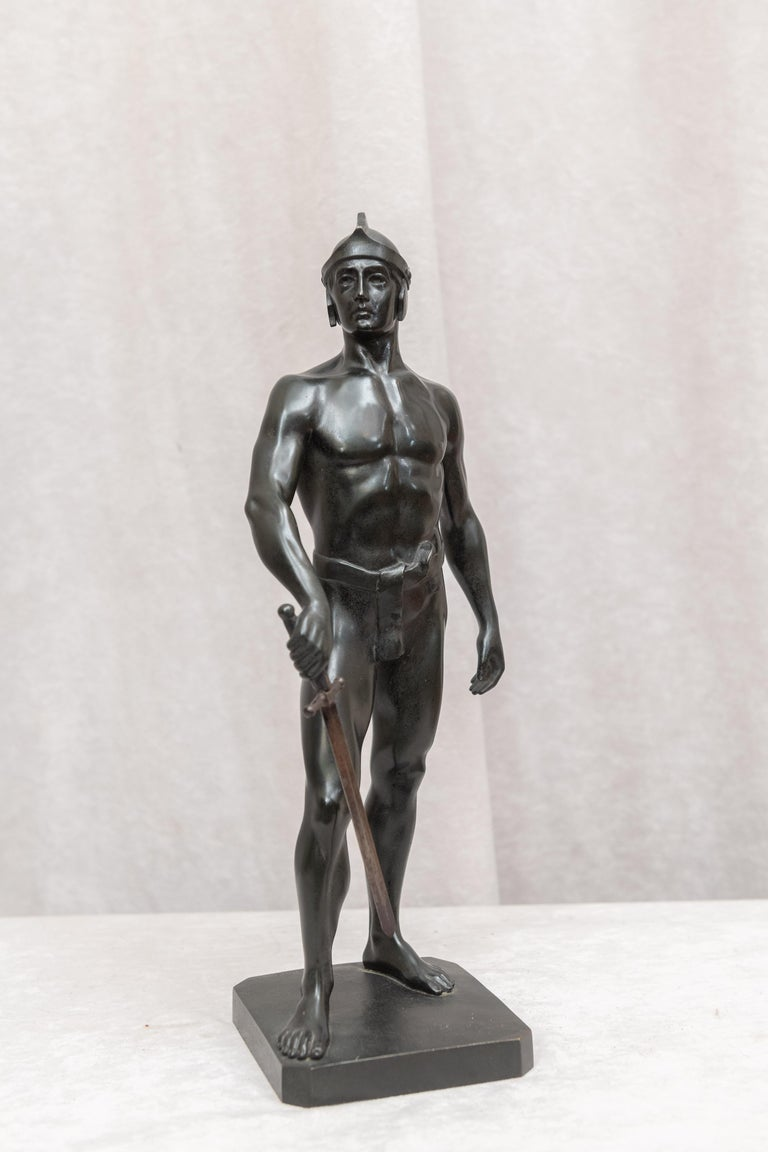 Beaux Arts Bronze Male Figure of Handsome Young Warrior, Artist Signed, German, circa 1890 For Sale