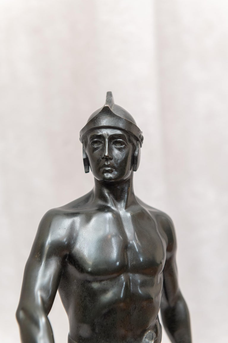 Patinated Bronze Male Figure of Handsome Young Warrior, Artist Signed, German, circa 1890 For Sale