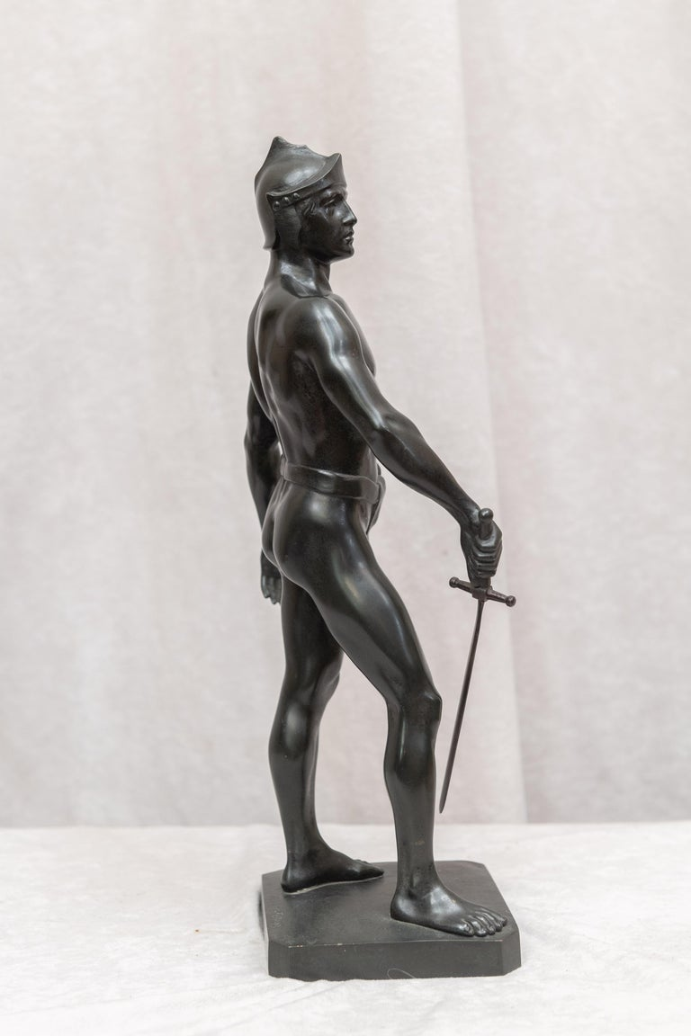 Bronze Male Figure of Handsome Young Warrior, Artist Signed, German, circa 1890 In Excellent Condition For Sale In Petaluma, CA