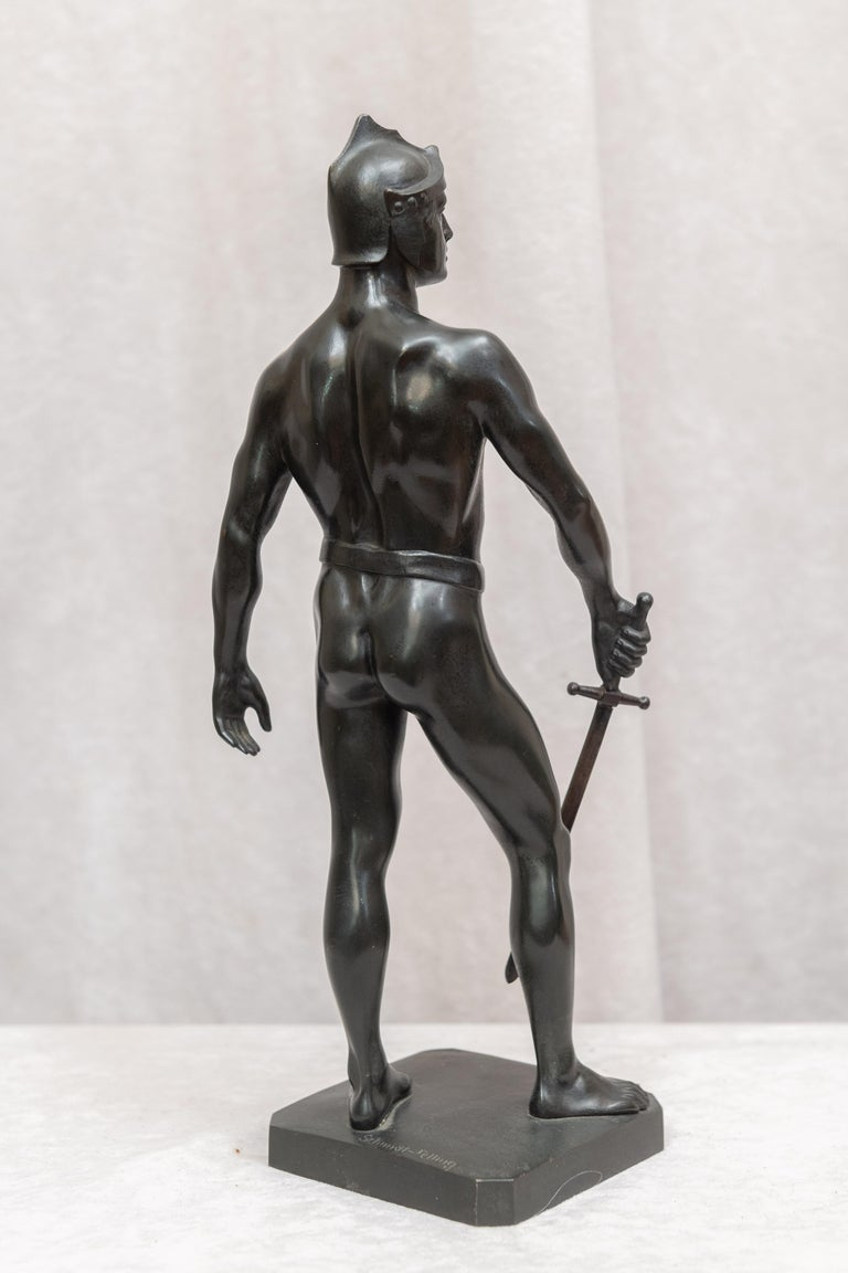 Bronze Male Figure of Handsome Young Warrior, Artist Signed, German, circa 1890 For Sale 1