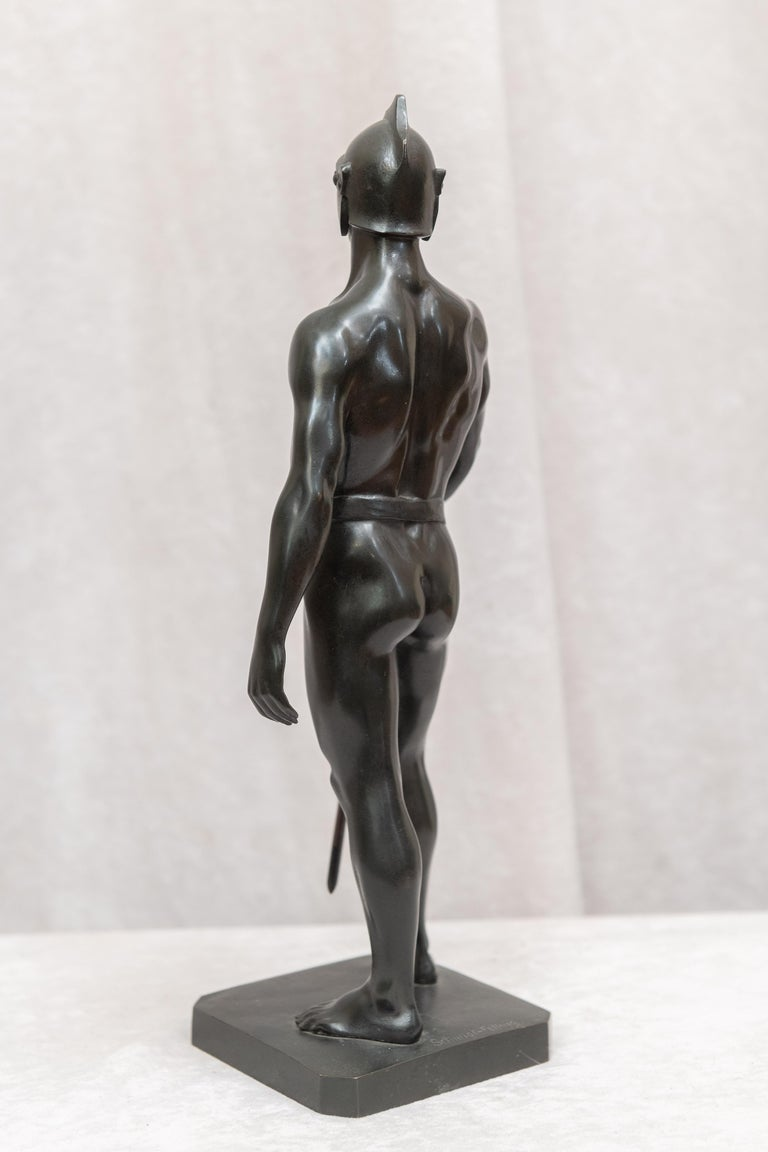 Bronze Male Figure of Handsome Young Warrior, Artist Signed, German, circa 1890 For Sale 2