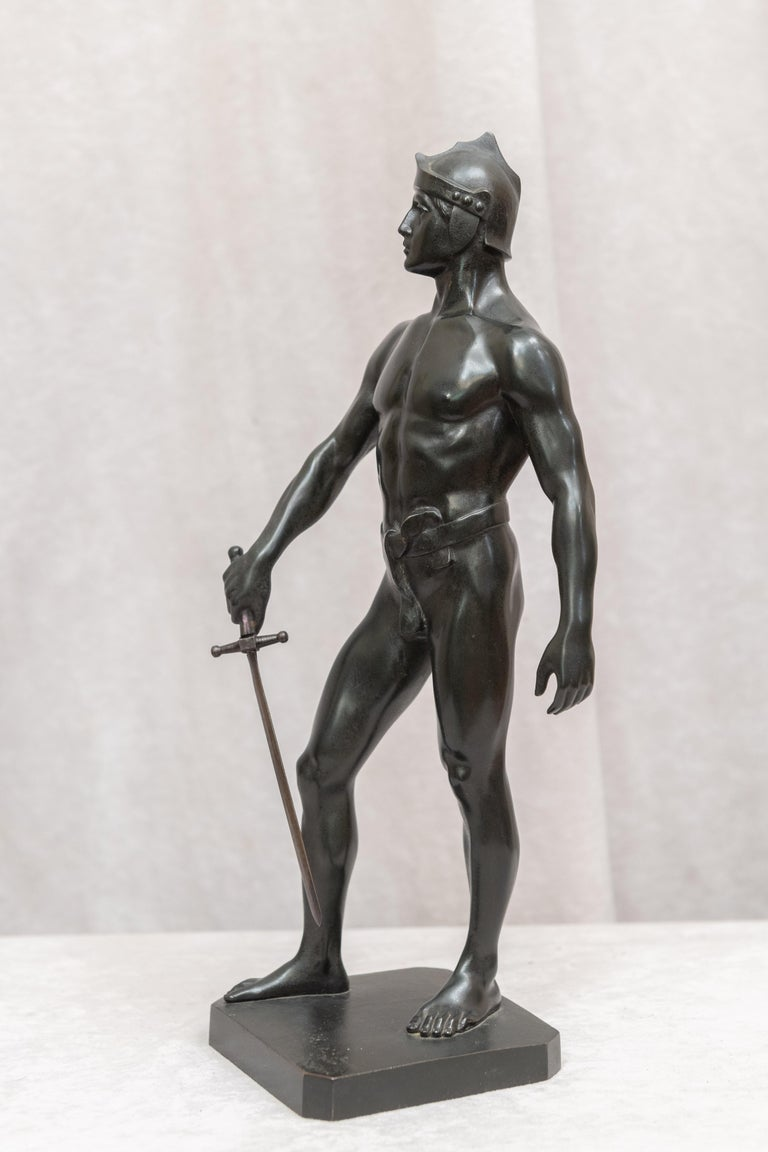 Bronze Male Figure of Handsome Young Warrior, Artist Signed, German, circa 1890 For Sale 3