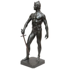 Bronze Male Figure of Handsome Young Warrior, Artist Signed, German, circa 1890