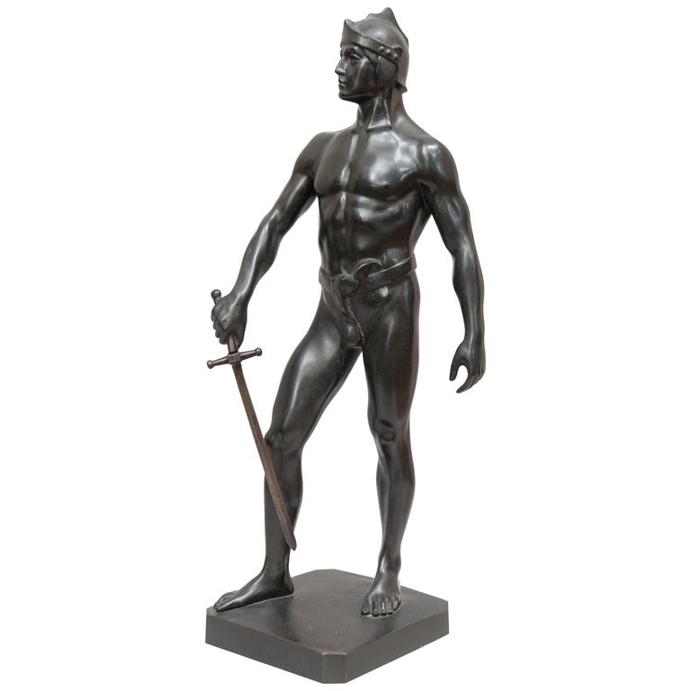Bronze Male Figure of Handsome Young Warrior, Artist Signed, German, circa 1890 For Sale