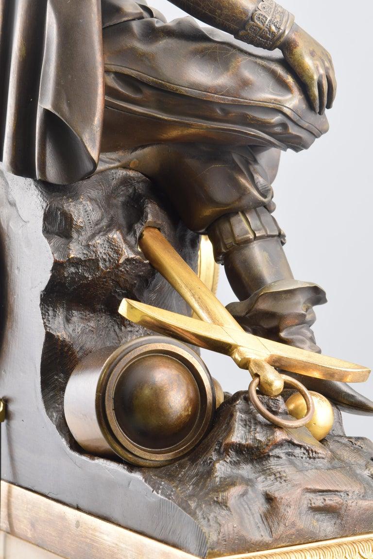 Bronze Mantel Clock, 19th Century For Sale 5