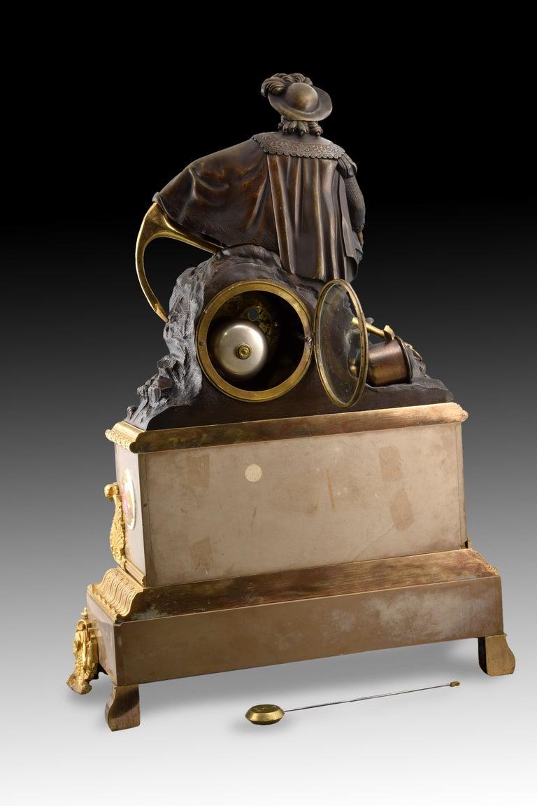 Neoclassical Bronze Mantel Clock, 19th Century For Sale