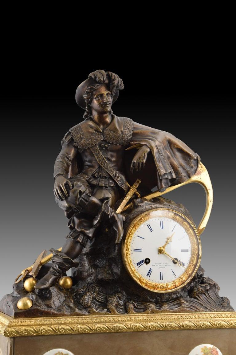 European Bronze Mantel Clock, 19th Century For Sale