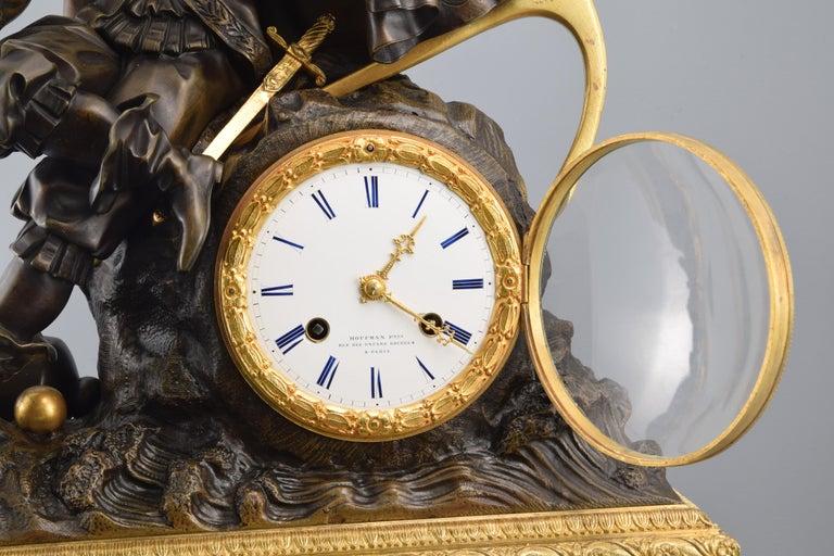 Bronze Mantel Clock, 19th Century For Sale 1