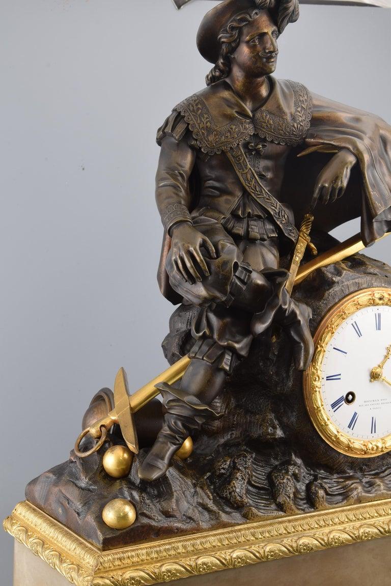 Bronze Mantel Clock, 19th Century For Sale 2
