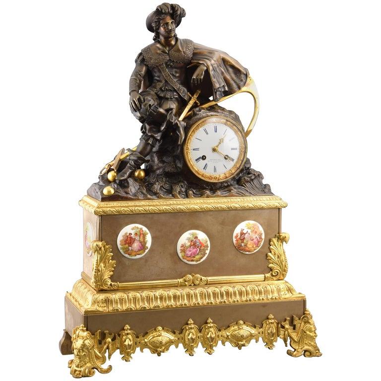 Bronze Mantel Clock, 19th Century For Sale