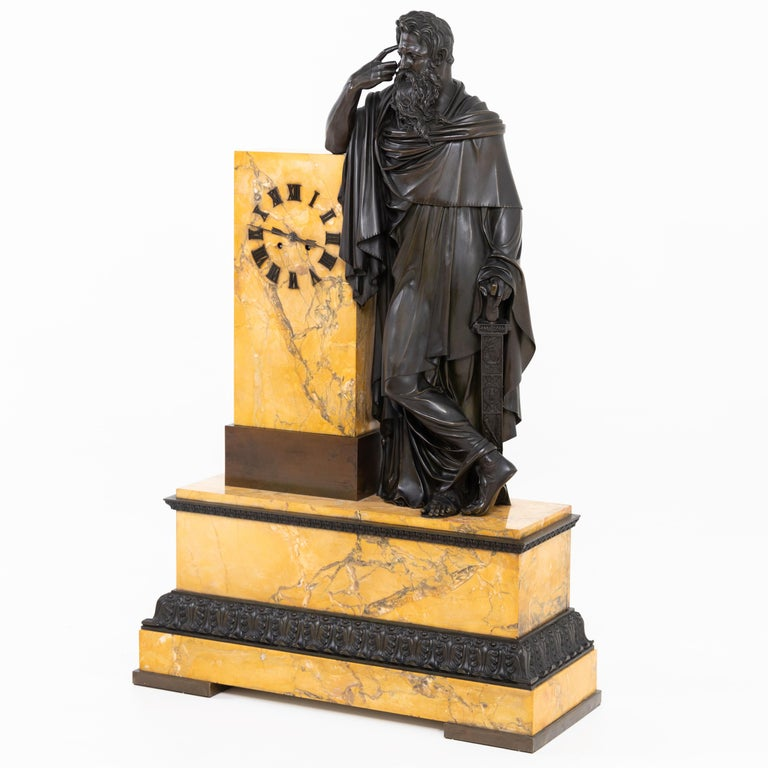 19th Century Bronze Mantel Clock, Restauration Period France, Movement Dated 1827 For Sale
