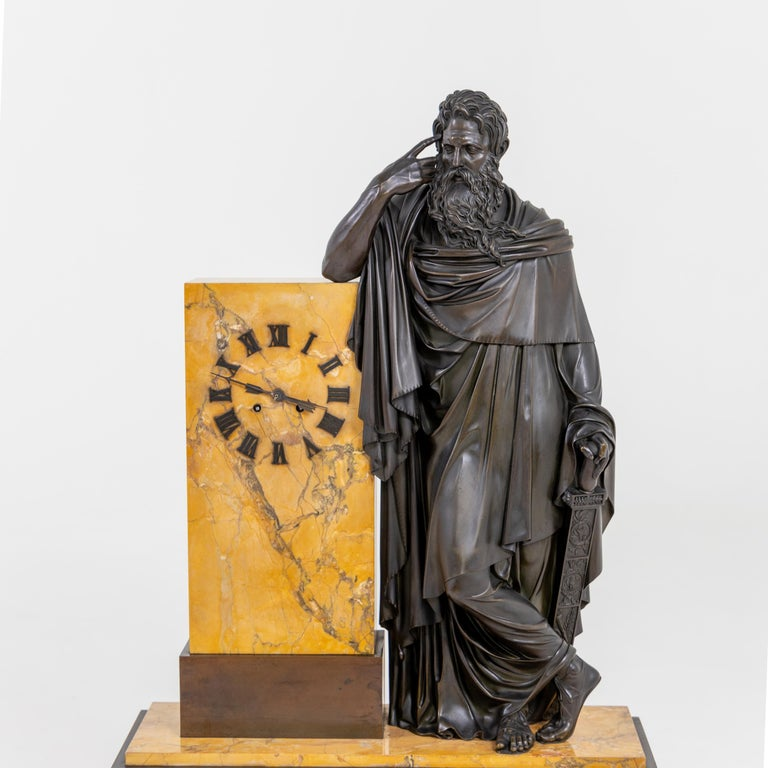 Bronze Mantel Clock, Restauration Period France, Movement Dated 1827 For Sale 2
