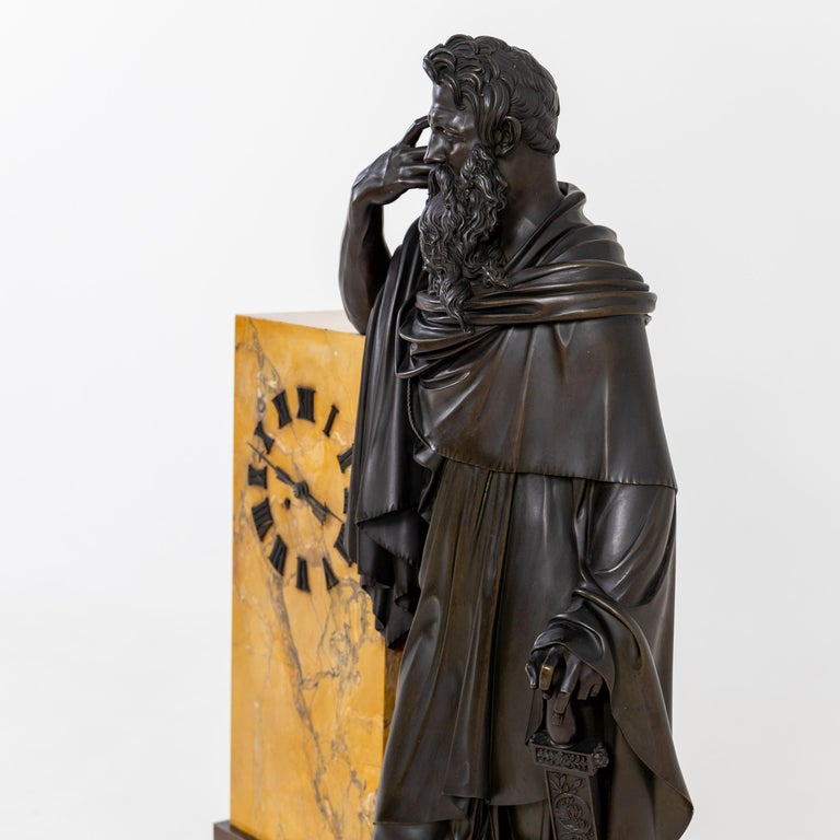 Bronze Mantel Clock, Restauration Period France, Movement Dated 1827 For Sale 3