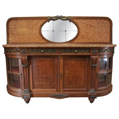 Bronze Marble and Oak marquetry Side board Cabinet, circa 1920s