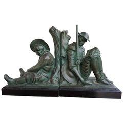 Bronze & Marble Art Deco Don Quixote & Sancho Panza Sculpture Bookends by Janle