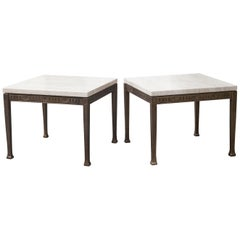Bronze Marble Side Tables France 1960s Set of Two