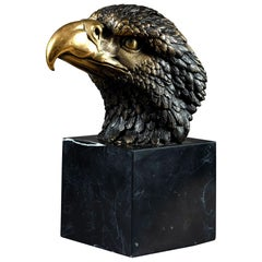 Bronze Metal Sculpture of an American Great Crested Bald Eagle on a Marble Base