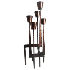 Bronze Midcentury Floor Candlestick or Candleholder in the Brutalist Style, 1950