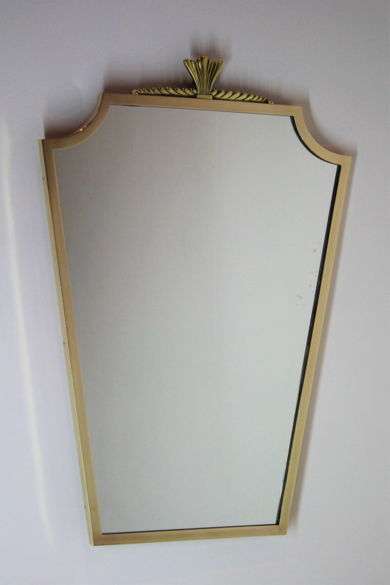 Bronze mirror from the early 1940s in the style of André Arbus.