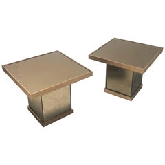 Bronze Mirror Modernist Pair of Side Tables, 1970s