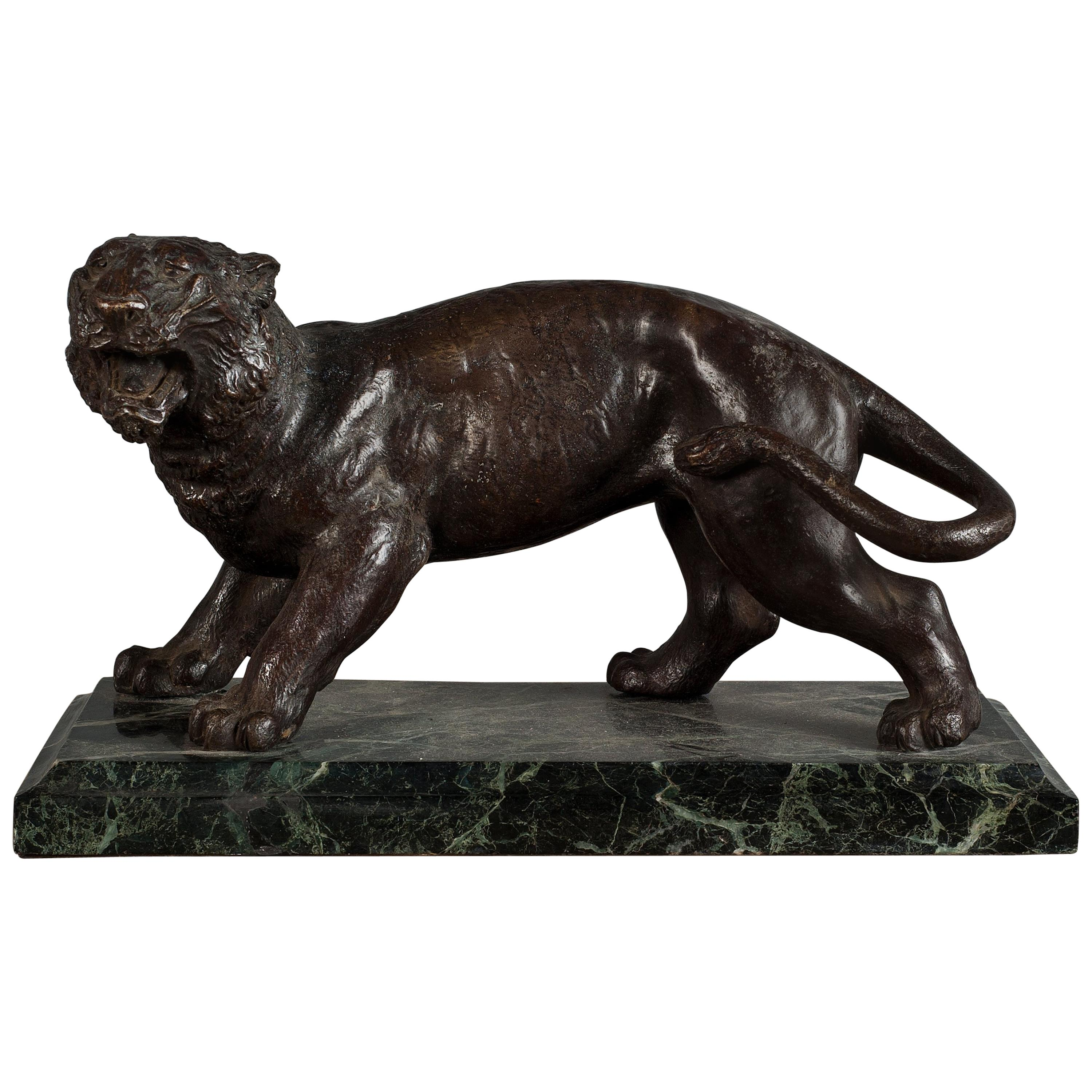Bronze Model of a Panther on a Green Marble Base