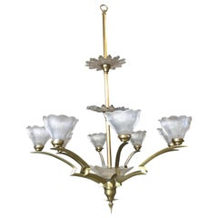 Bronze Modernist Lighting Bolt Chandelier with Holophane Glass Fixtures