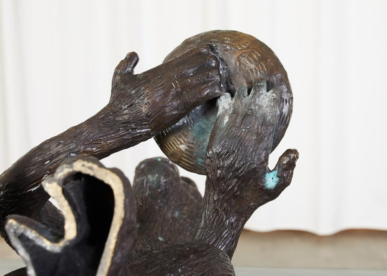 Bronze Monkey Sculpture with Dish For Sale 10