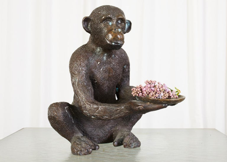 Hollywood Regency Bronze Monkey Sculpture with Dish For Sale