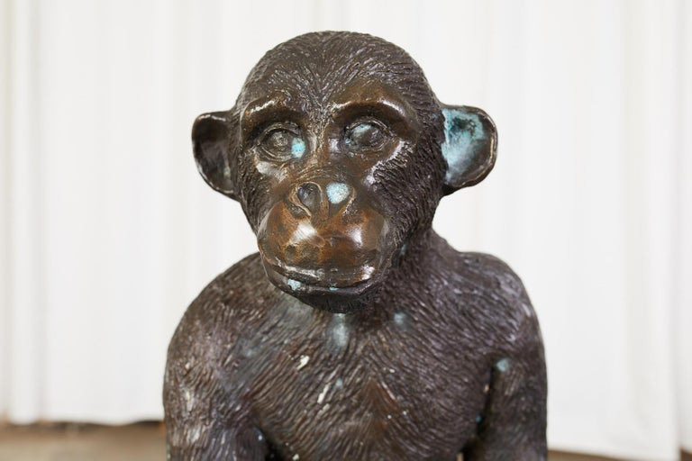 Hand-Crafted Bronze Monkey Sculpture with Dish For Sale