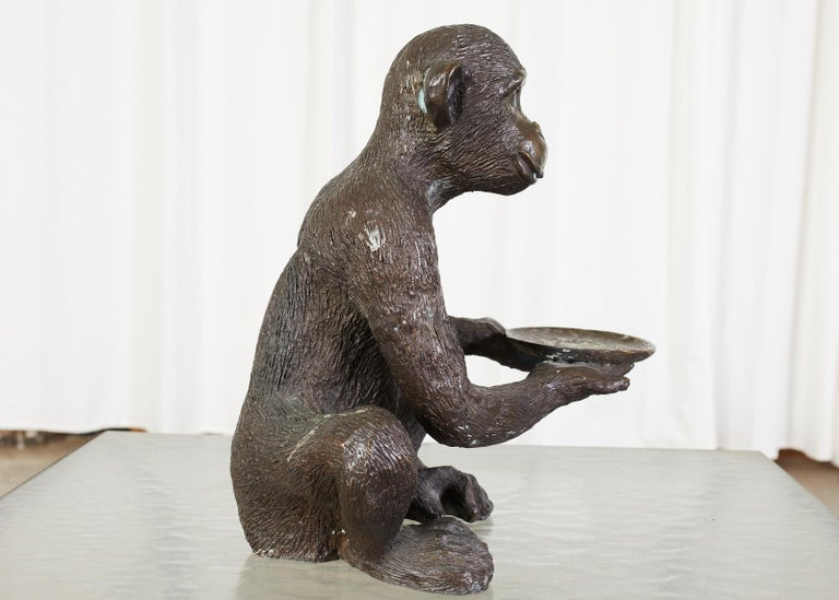 Bronze Monkey Sculpture with Dish In Good Condition For Sale In Rio Vista, CA