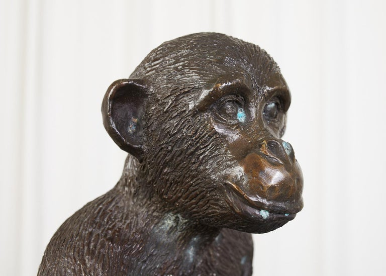 20th Century Bronze Monkey Sculpture with Dish For Sale
