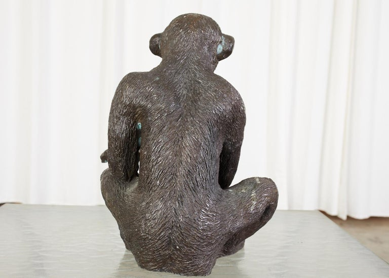 Bronze Monkey Sculpture with Dish For Sale 1