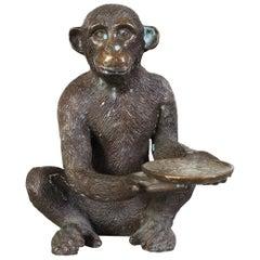 Bronze Monkey Sculpture with Dish