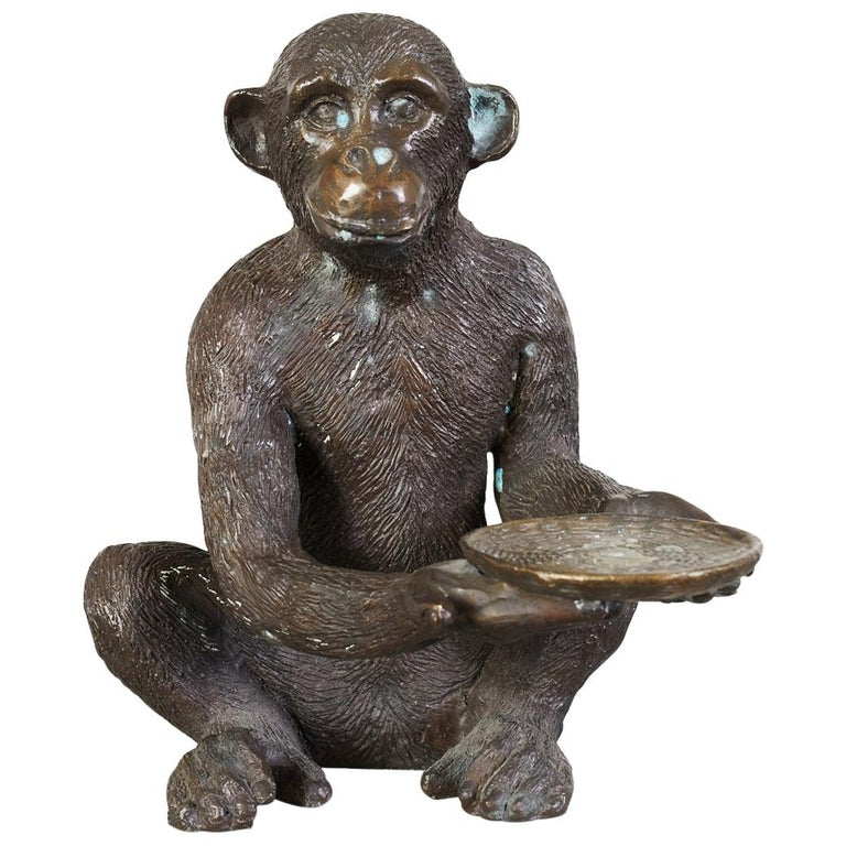Bronze Monkey Sculpture with Dish For Sale