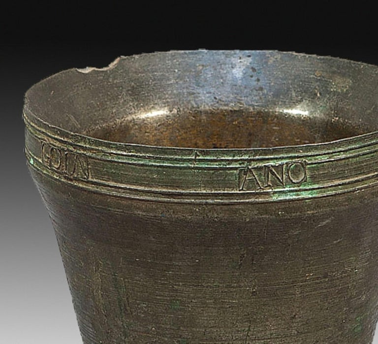 Neoclassical Bronze Mortar with Inscription, Spain, 1846 For Sale