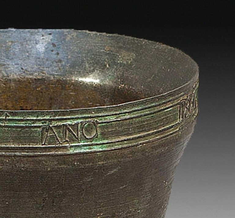 Spanish Bronze Mortar with Inscription, Spain, 1846 For Sale