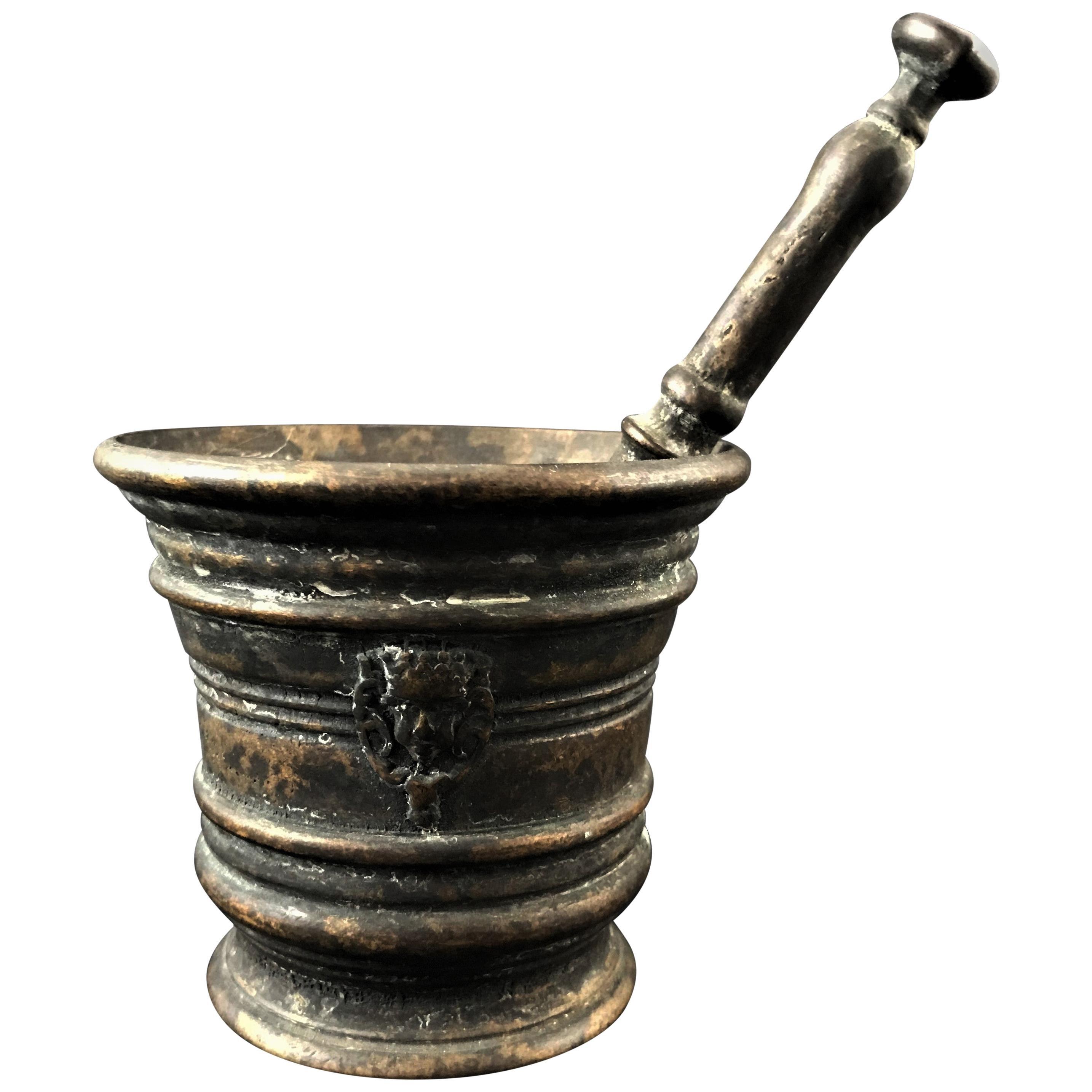 Bronze Mortar with Mascarons