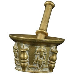 Bronze Mortar with Masks, with Pestle, 17th Century